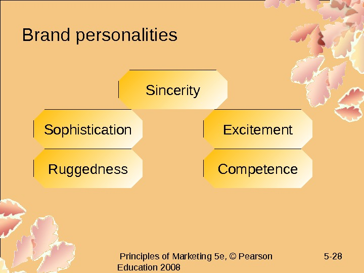 Principles of Marketing 5 e, © Pearson Education 2008 5 - 28 Brand personalities