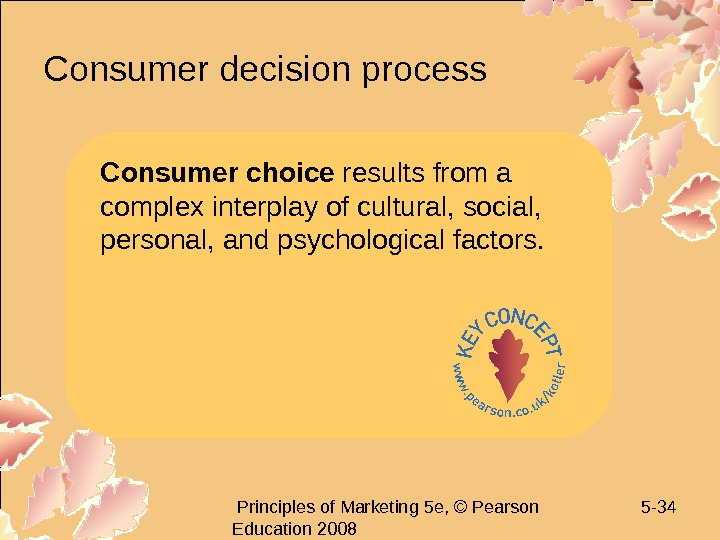 Principles of Marketing 5 e, © Pearson Education 2008 5 - 34 Consumer decision