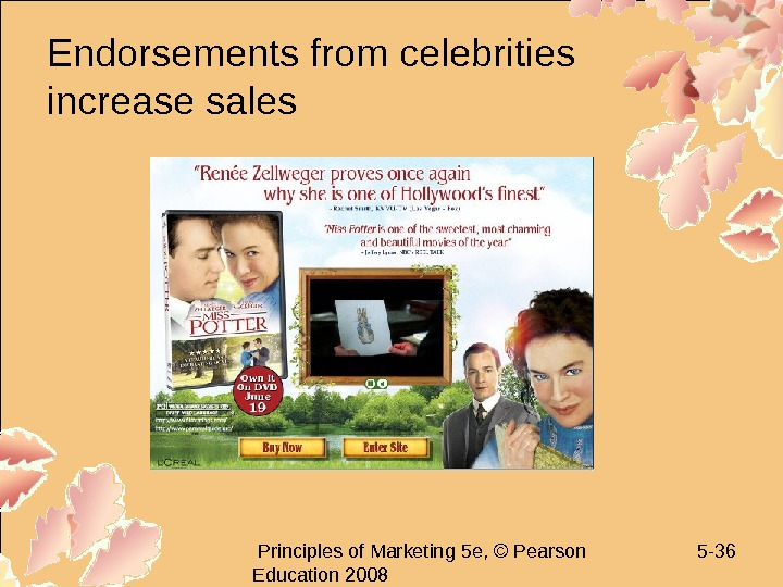 Principles of Marketing 5 e, © Pearson Education 2008 5 - 36 Endorsements from
