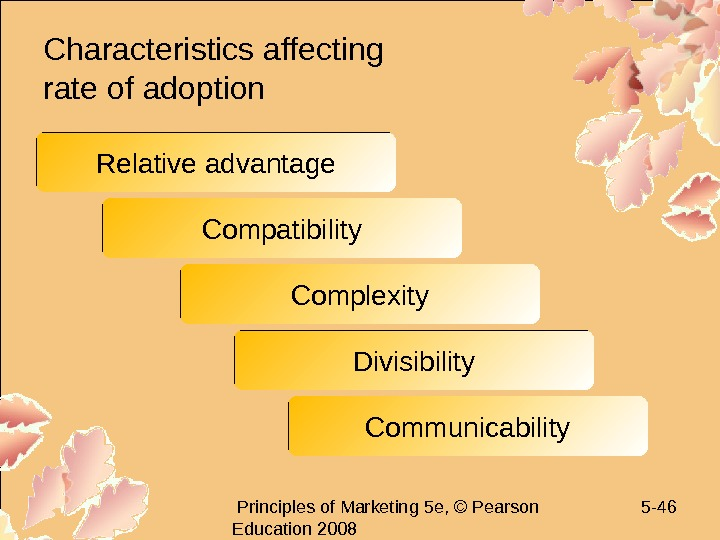 Principles of Marketing 5 e, © Pearson Education 2008 5 - 46 Characteristics affecting