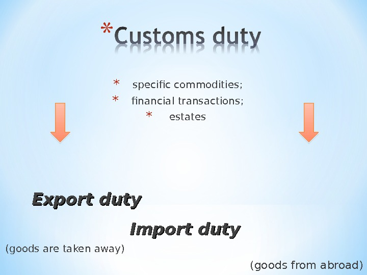* specific commodities ; * financial transactions ; * estates Export duty