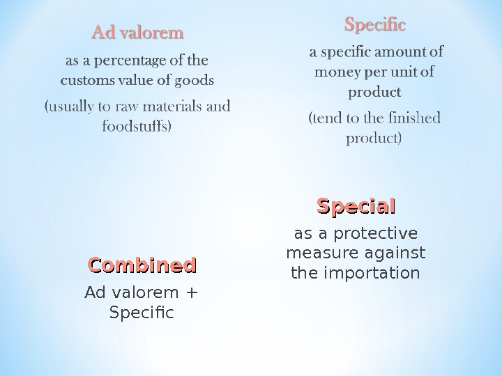 Combined Ad valorem + Specific Special as a protective measure against the importation