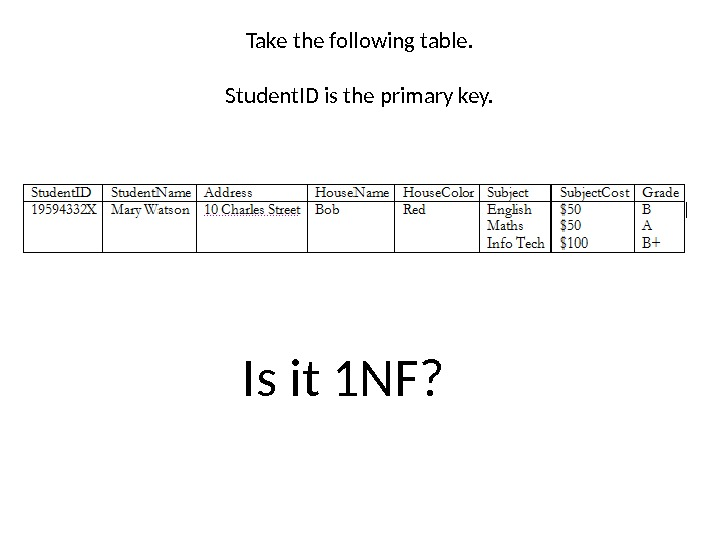 Take the following table. Student. ID is the primary key. Is it 1 NF?