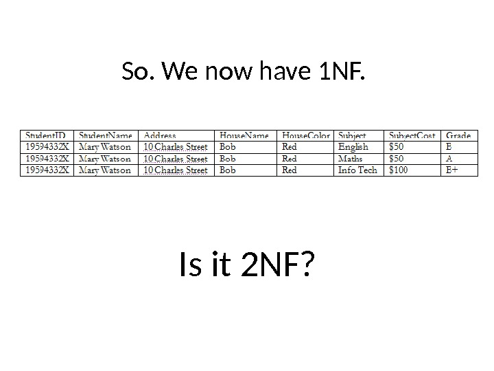 So. We now have 1 NF. Is it 2 NF?