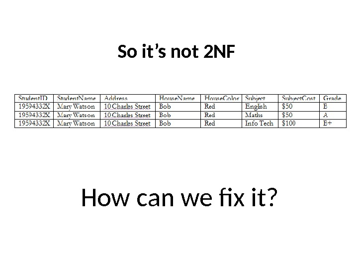 So it's not 2 NF How can we fix it?