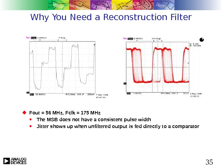35 Why You Need a Reconstruction Filter Fout = 56 MHz, Fclk = 175 MHz
