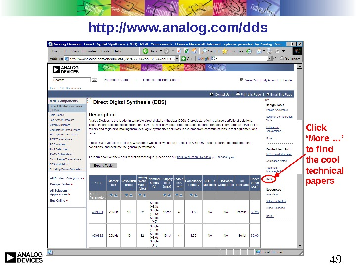 49 http: //www. analog. com/dds Click 'More …' to find the cool technical papers