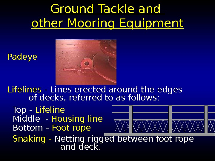 Ground Tackle and other Mooring Equipment Padeye Lifelines - Lines erected around the edges