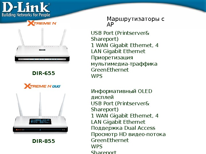 Маршрутизаторы с AP Информативный OLED дисплей USB Port (Printserver& Shareport) 1 WAN Gigabit Ethernet, 4 LAN