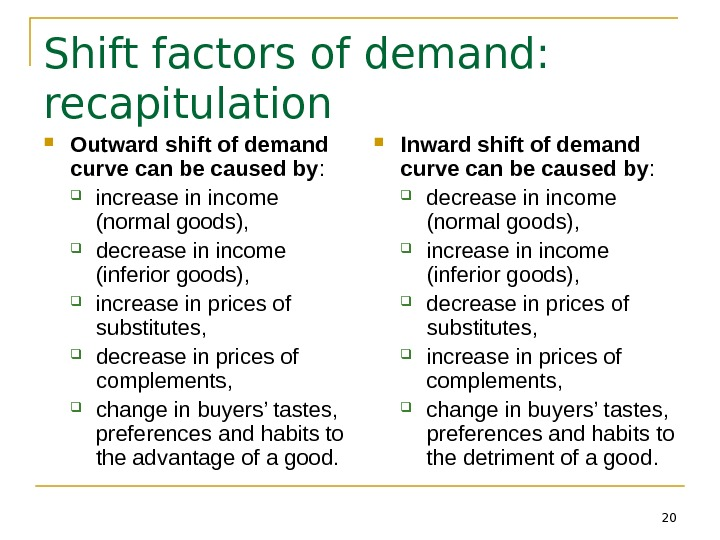 20 Shift factors of demand:  recapitulation Outward shift of demand curve can be caused by