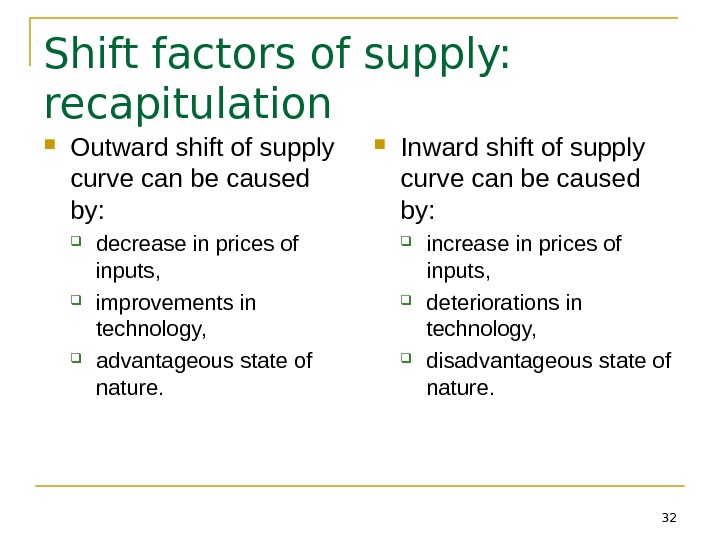 32 Shift factors of supply:  recapitulation Outward shift of supply curve can be caused by: