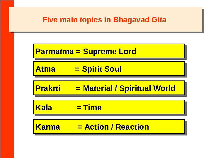 Five main topics in Bhagavad Gita Parmatma = Supreme Lord Atma   = Spirit Soul