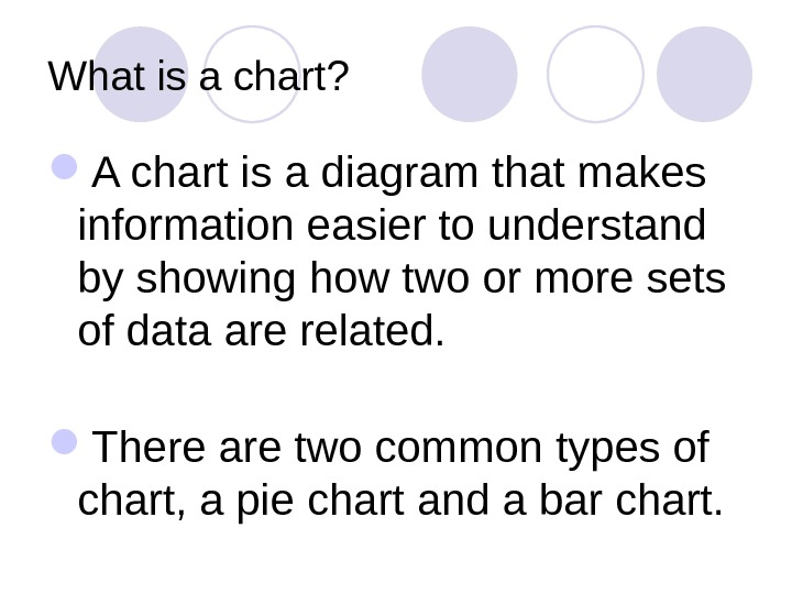 What is a chart?  A chart is a diagram that makes information easier to understand