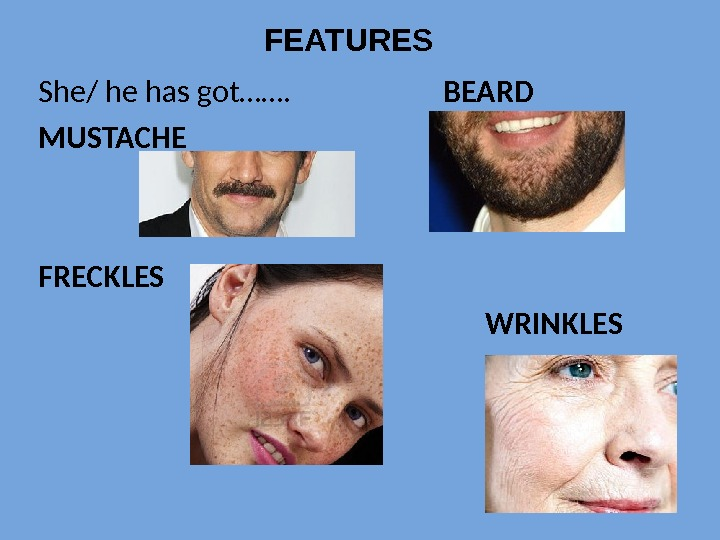 She/ he has got…….    BEARD MUSTACHE FRECKLES      WRINKLESFEATURES