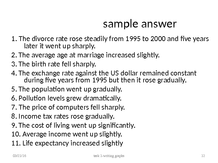 sample answer 1. The divorce rate rose steadily from 1995 to 2000 and five years later