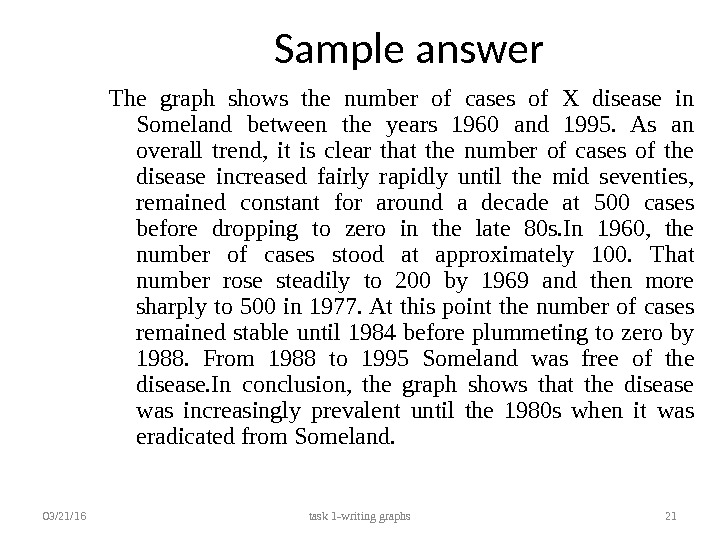 Sample answer The graph shows the number of cases of X disease in Someland between the