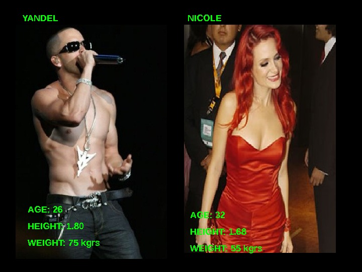 YANDEL AGE: 26 HEIGHT: 1. 80 WEIGHT: 75 kgrs. AGE: 32 HEIGHT: 1. 68 WEIGHT: 55