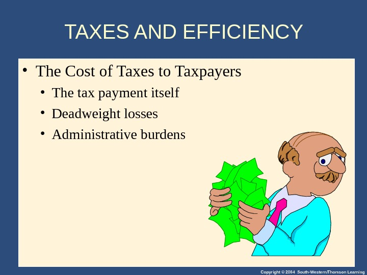 Copyright © 2004 South-Western/Thomson Learning. TAXES AND EFFICIENCY  • The Cost of Taxes to Taxpayers