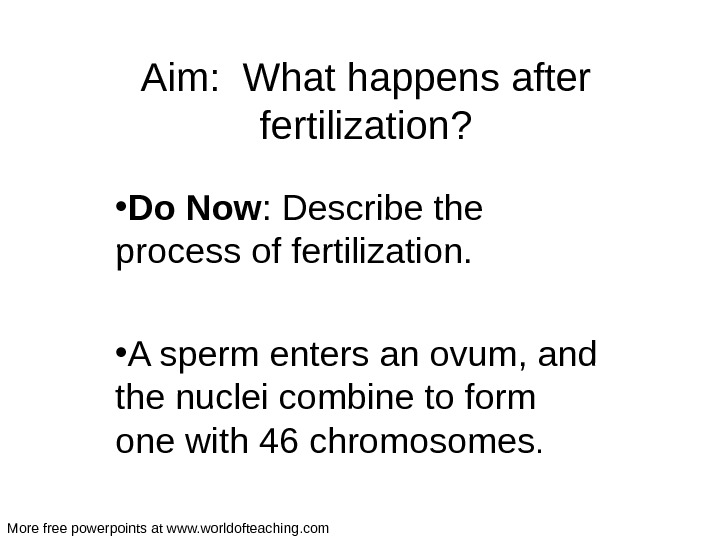 Aim:  What happens after fertilization?  • Do  Now : Describe the process of