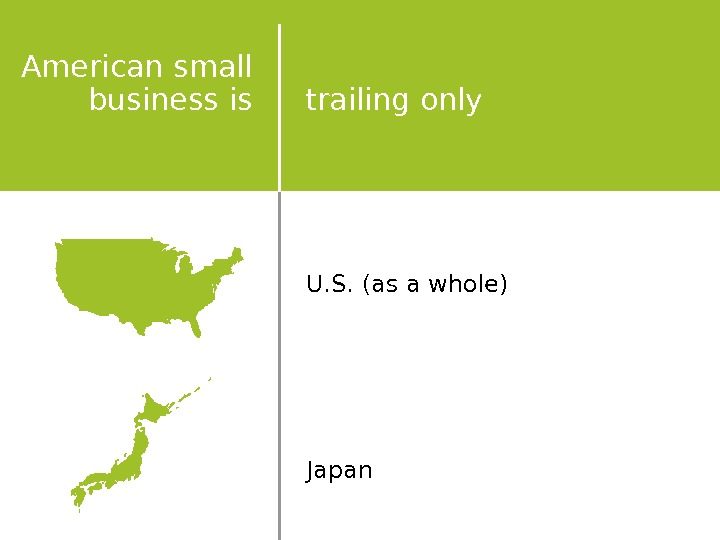 world'sis the trailing only U. S. (as a whole) Japan. American small business is