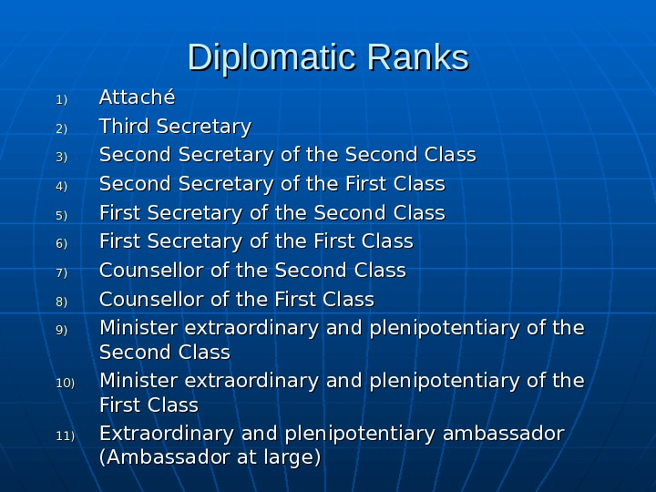 Diplomatic Ranks 1)1) Attaché 2)2) Third Secretary 3)3) Second Secretary of the Second Class 4)4) Second