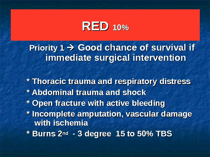 RED 1010 Priority 1 Good chance of survival if immediate surgical intervention  * Thoracic trauma