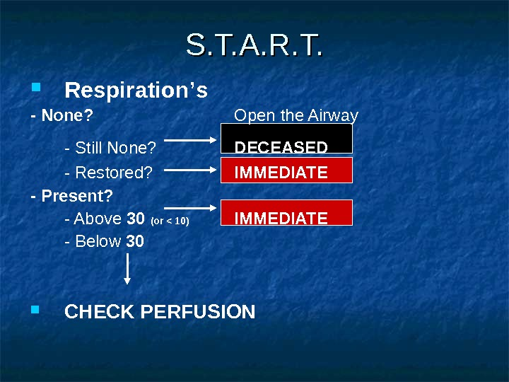 Respiration ' s - None?   Open the Airway - Still None? DECEASED -