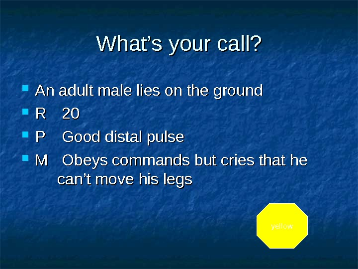 What's your call?  An adult male lies on the ground RR 20 20 PP Good