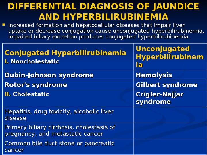 DIFFERENTIAL DIAGNOSIS OF JAUNDICE AND HYPERBILIRUBINEMIA Increased formation and hepatocellular diseases that impair liver uptake or