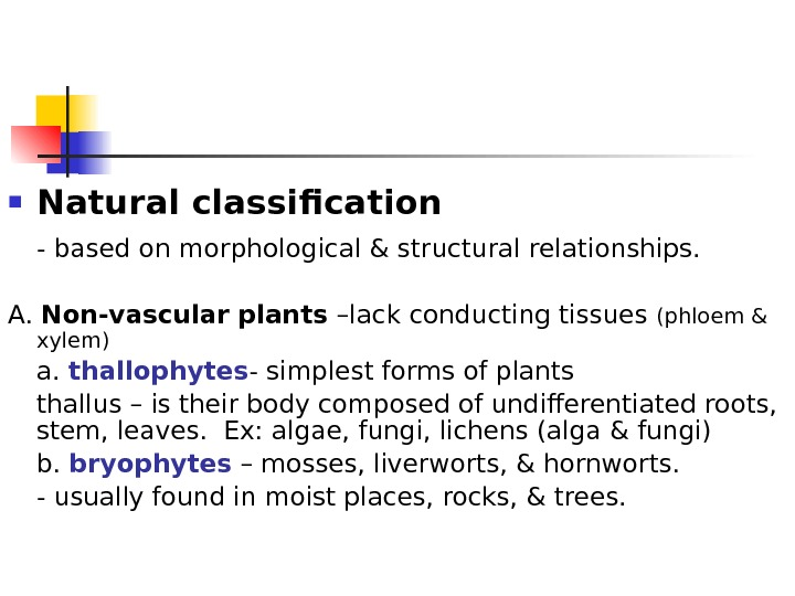 Natural classification - based on morphological & structural relationships. A.  Non-vascular plants –lack conducting