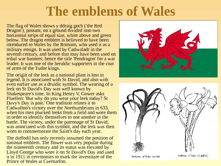 The emblems of Wales The flag of Wales shows y ddraig goch ('the Red Dragon'), passant,