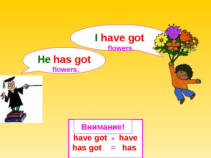 have got = have has got =  has Внимание!He  has got  flowers. I
