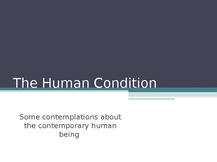 The Human Condition  Some contemplations about the contemporary human being