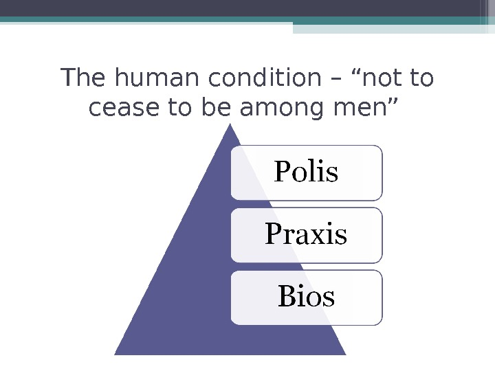 "The human condition – ""not to cease to be among men"""