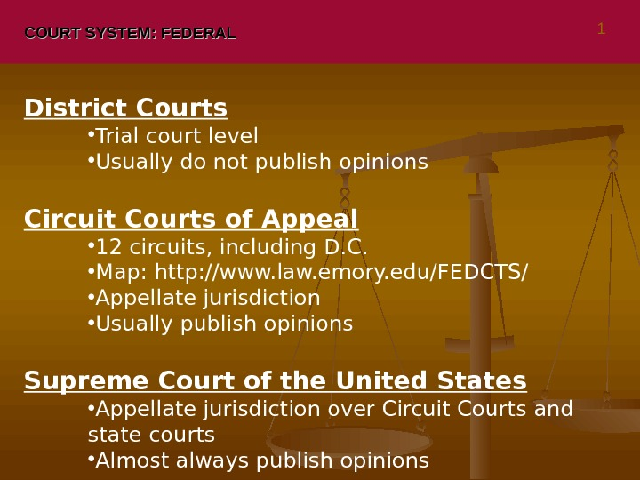 COURT SYSTEM: FEDERAL District Courts • Trial court level • Usually do not publish opinions Circuit