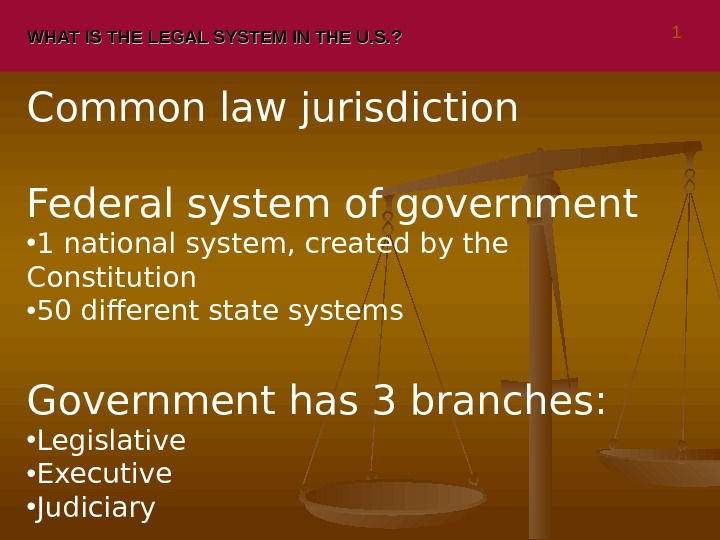 WHAT IS THE LEGAL SYSTEM IN THE U. S. ? Common law jurisdiction Federal system of