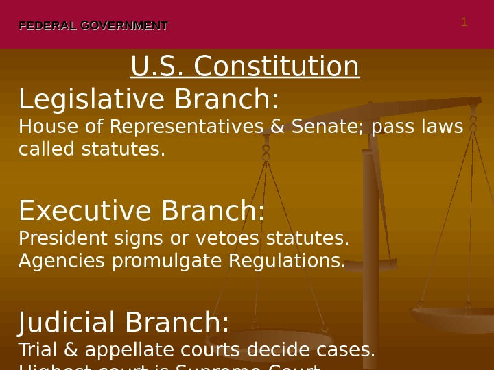 FEDERAL GOVERNMENT U. S. Constitution Legislative Branch:  House of Representatives & Senate; pass laws called