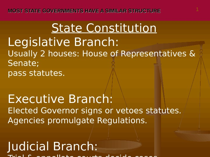 MOST STATE GOVERNMENTS HAVE A SIMILAR STRUCTURE State Constitution Legislative Branch:  Usually 2 houses: House