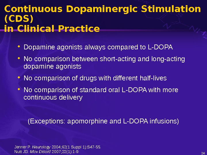 Continuous Dopaminergic Stimulation (CDS) in Clinical Practice • Dopamine agonists always compared to L-DOPA • No