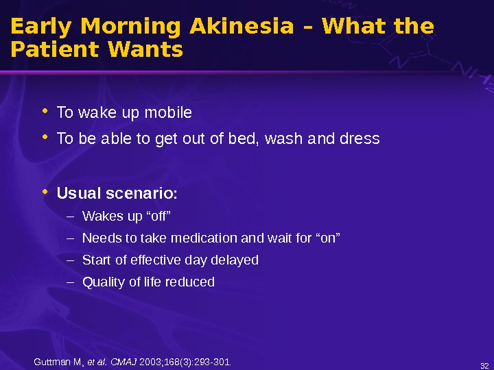Early Morning Akinesia – What the Patient Wants • To wake up mobile • To be