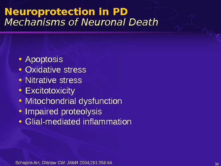 Neuroprotection in PD Mechanisms of Neuronal Death • Apoptosis • Oxidative stress • Nitrative stress •