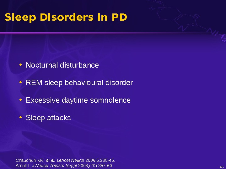 Sleep Disorders in PD • Nocturnal disturbance • REM sleep behavioural disorder • Excessive daytime somnolence