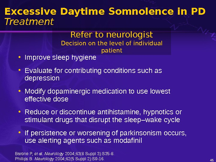 46 Excessive Daytime Somnolence in PD Treatment • Improve sleep hygiene • Evaluate for contributing conditions