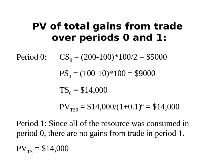 PV of total gains from trade over periods 0 and 1: Period 0: CS 0 =