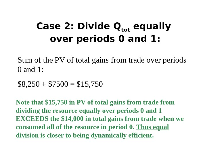 Case 2: Divide Q tot equally over periods 0 and 1: Sum of the PV of