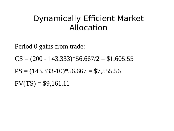 Dynamically Efficient Market Allocation Period 0 gains from trade: CS = (200 - 143. 333)*56. 667/2