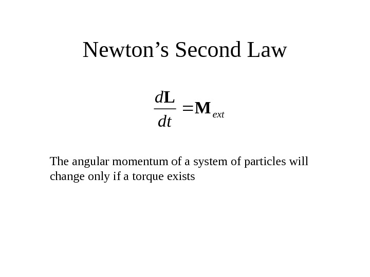 Newton's Second Lawext dt d M L The angular momentum of a system of