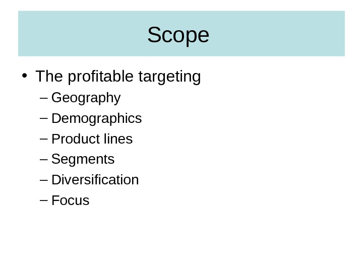 Scope  • The profitable targeting – Geography – Demographics – Product lines – Segments –