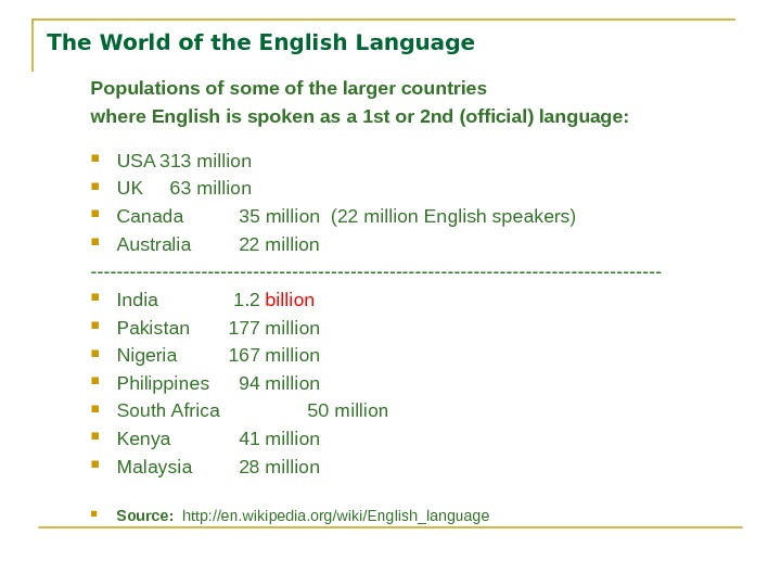 The World of the English Language Populations of some of the larger countries where English is