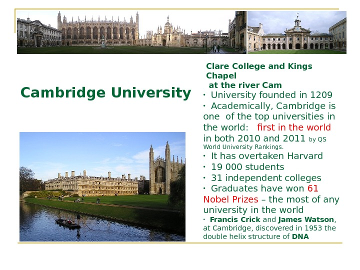 Cambridge University Clare College and Kings Chapel  at the river Cam • University founded in